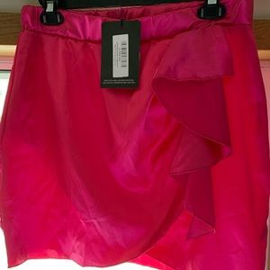 Satin hot pink pink skirt